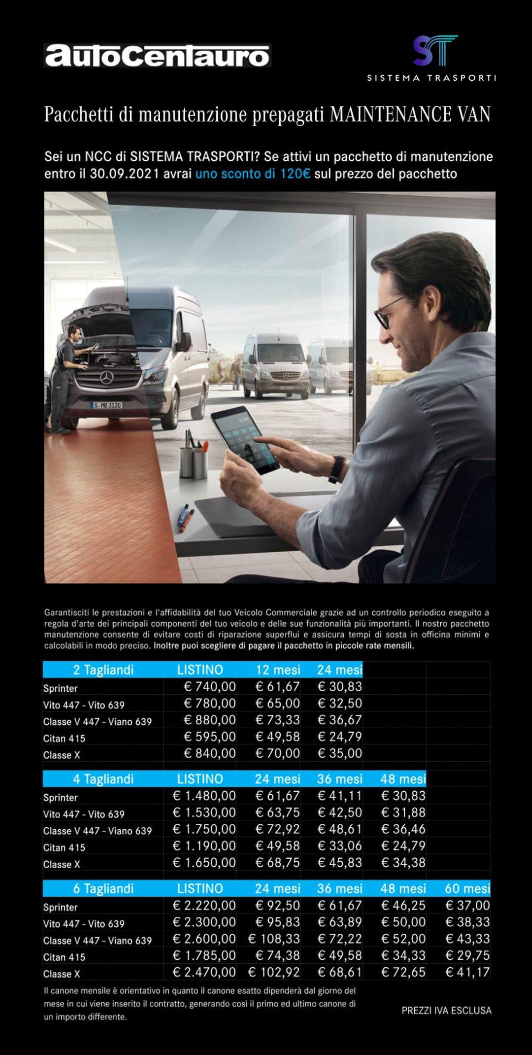 Volantino convenzione Sistema Trasporti manutenzione Autoentauro Mercedes
