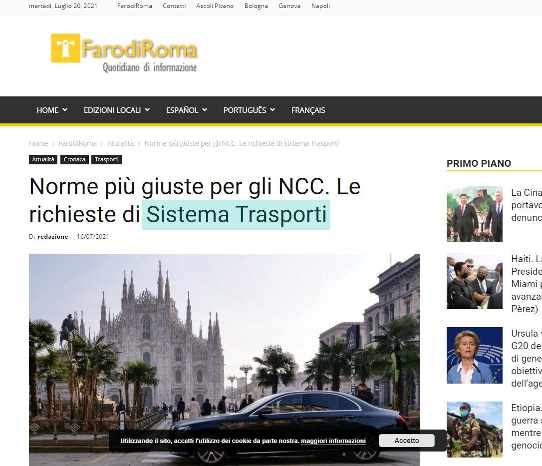 Sistema Trasporti norme più giuste per gli NCC articolo Faro di Roma